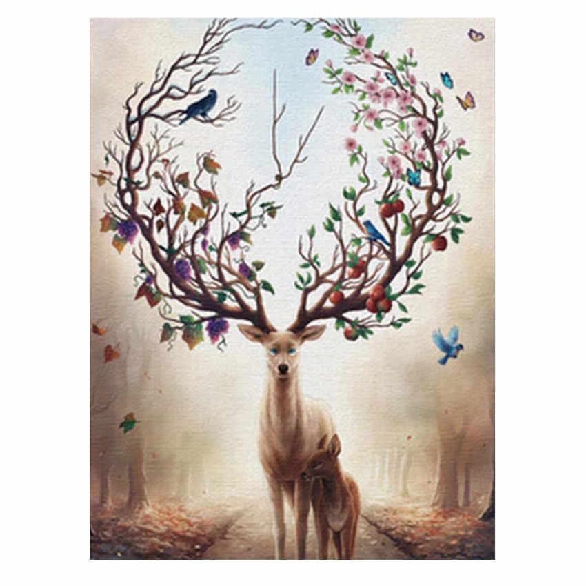 Rihe Sika Deer Animal Painting By Numbers Diy Oil On Canvas Cuadros Decoracion Acrylic Paint Home Decor Wall Art40x50cm