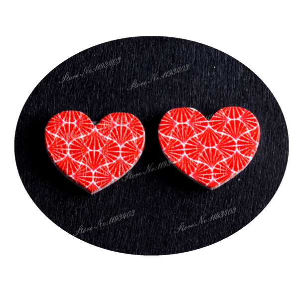 16mm Streak Heart Shape  Image Painted Wooded Laser Cut Cabochon to make Rings, Earrings, Bobby pin, pendant