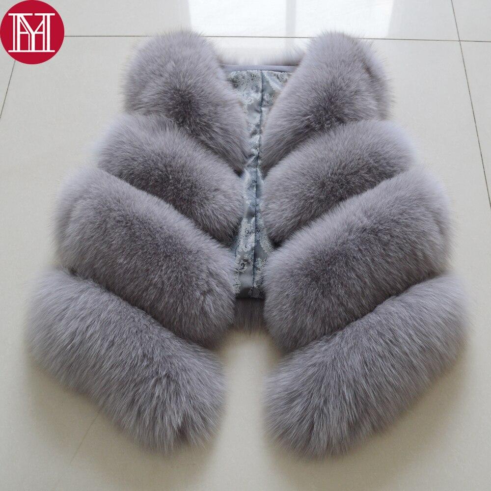 Women Natural Real Fox Fur Vest Autumn Winter Ladies Fox Fur Vest Sleeveless Genuine Fox Fur