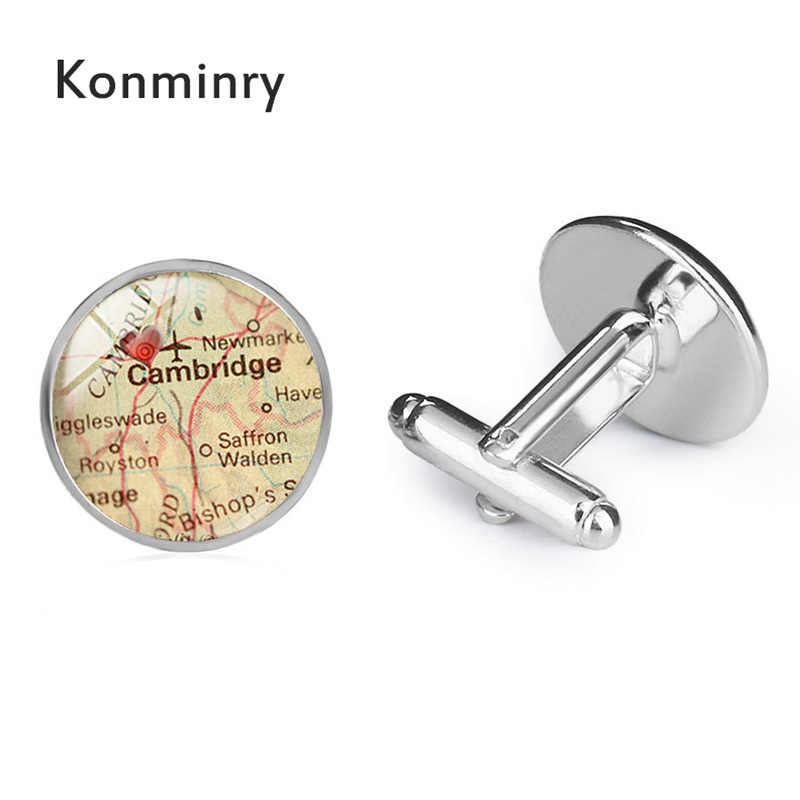 Konminry Charms Cambridge Red Heart Cufflinks Glass Dome Art England City  Map Silver Bronze Black Jewelry For Men Accessories