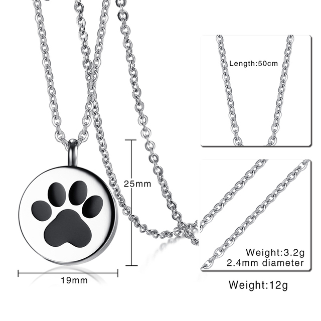 Paw Print Cremation Pendant Necklace
