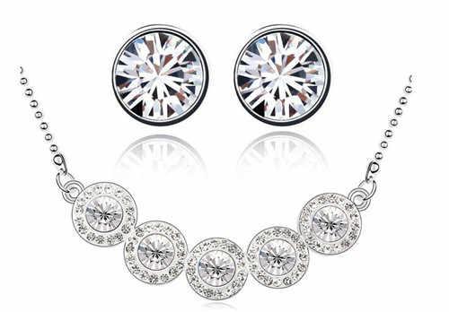 5 עגול זירקון rhinestones תליון שרשרת עגילי מתנת נשים משלוח חינם תכשיטי סט אופנה מאהב בנות קייט מלכת איכות