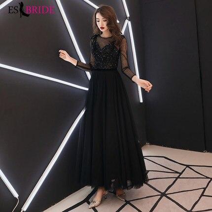 Women Elegant round Collar Long Evening Dresses Elegant Formal Lace Sleeveless Black Party Evening Dresses Plus Size ES1171