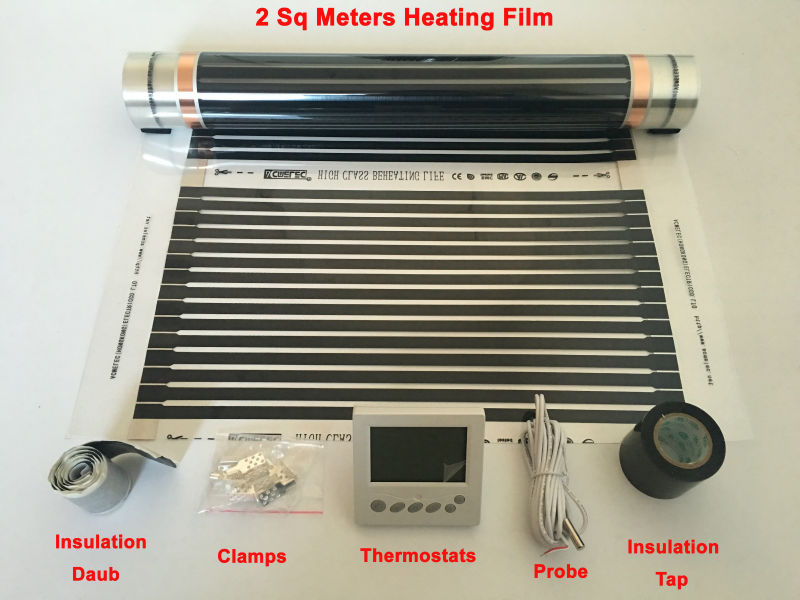 2 Square Meters Infrared Heating Film 50 cm*4 m With Thermostats + 5 Pieces Clamps + Insulating Daub + Black Insulation Tap hot free shipping 10 square meter floor heating films thermostats clamps piler black tape insulating daub 0 5m 20m 220vac