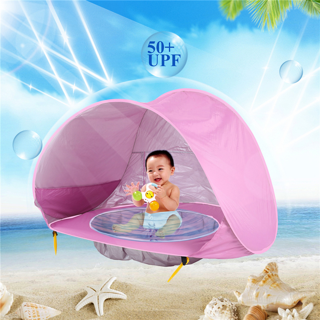 Baby Outdoor Beach Tent Pop Up Foldable Tent w/ Beach Pool Sun Shelter UV Protection UPF 50+ Beach Shade Hut for Baby Water Toy baby beach tent portable outdoor beach pool playing house uv protecting sunshelter with pool waterproof pop up awning tent