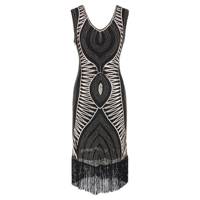 Women 1920s Vintage Great Gatsby Dress Sequins Dress V Neck Tassels Bodycon Beaded Party Dress Flapper Dresses Art Deco Double in Dresses from Women 39 s Clothing