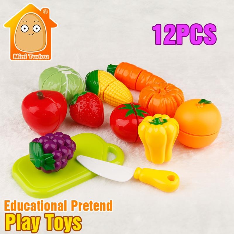 12PCS Cut Vegetables Toy Food Miniature Plastic Fruit Toys Kitchen For Children Pretend Play Kitchen Set
