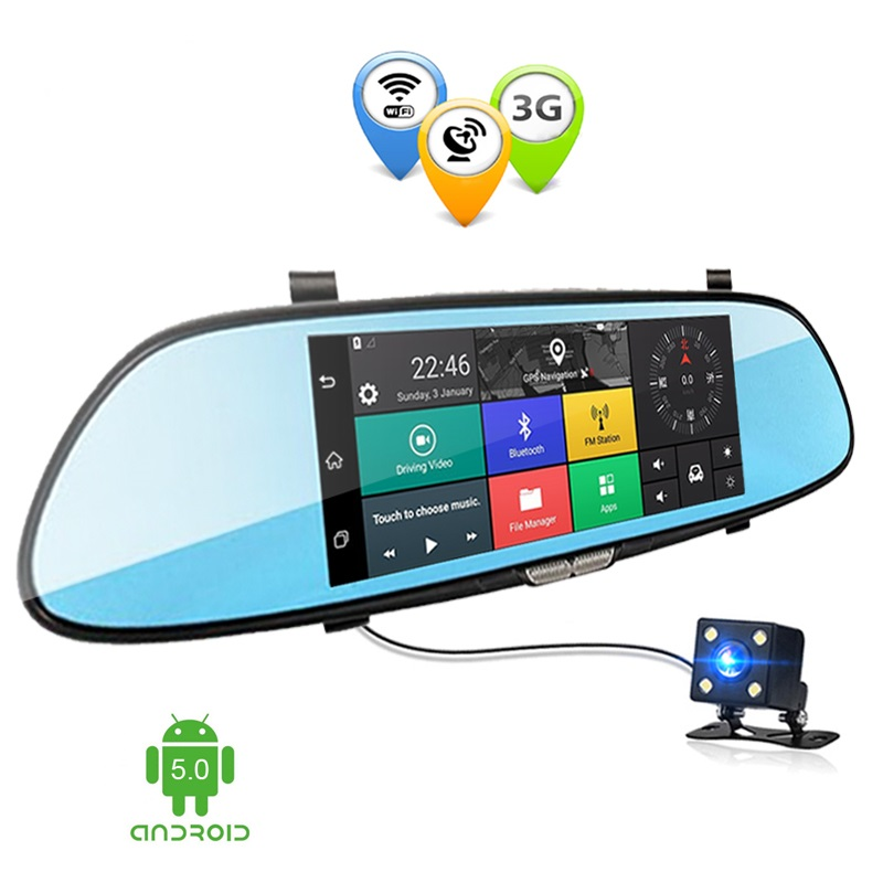 7.0 inch 3G Dual Lens Car DVR Mirror Camera Android GPS Full HD 1080P DVRs Bluetooth WIFI Dash Cam Video Recorder Dashcam