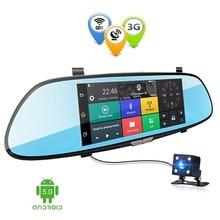 7.0 дюймов 3G Двойной объектив Видеорегистраторы для автомобилей зеркало Камера Android GPS Full HD 1080 P DVRs Bluetooth WI-FI регистраторы видео Регистраторы dashcam
