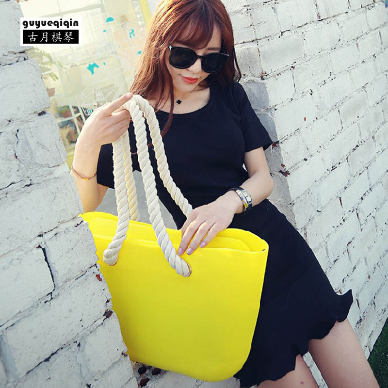 Candy Color Handbag Silica Gel Jelly Bag European Shoulder Bag for Women Zipper Fashion Waterproof Beach Bag Casual Tote Bags