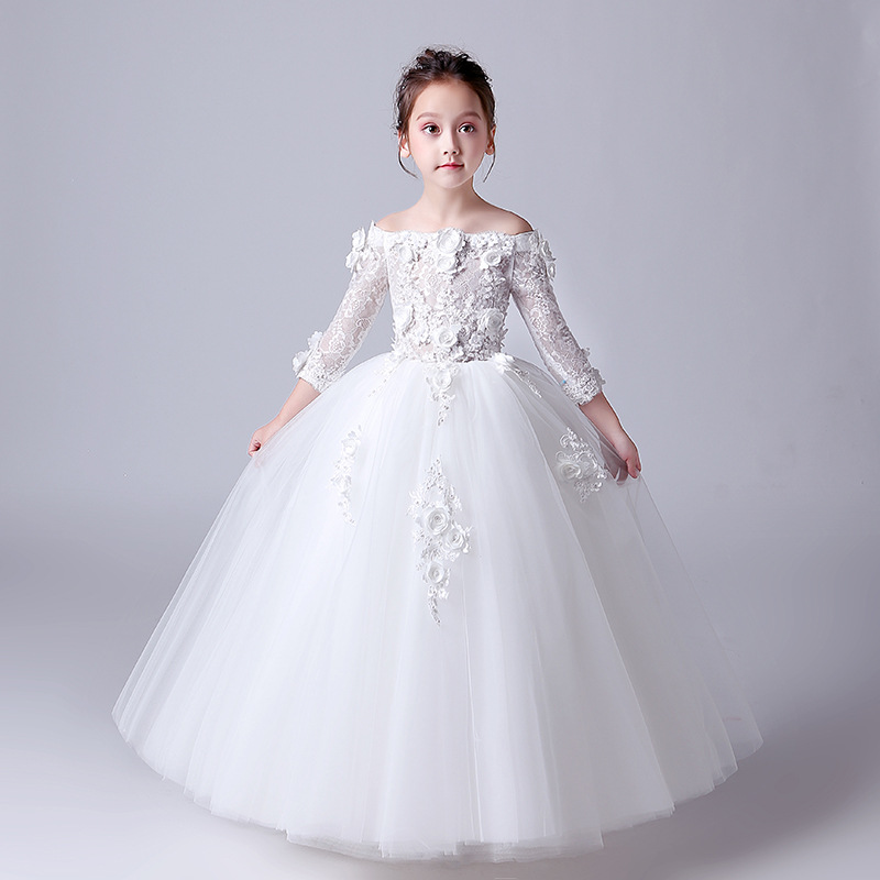 Fashion White Red Long Flower Girls Dress Off The Shoulder Flowers Little Girls Pageant Party Little Dresses Plus Size