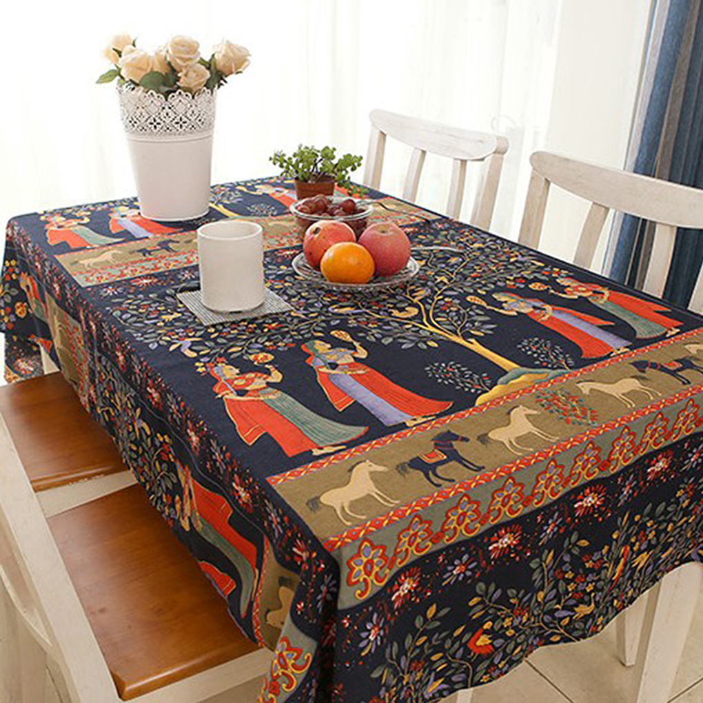 Dining Room Table Linens: Ethnic Style Pattern Tablecloth Cotton Linen Fabrics Anti
