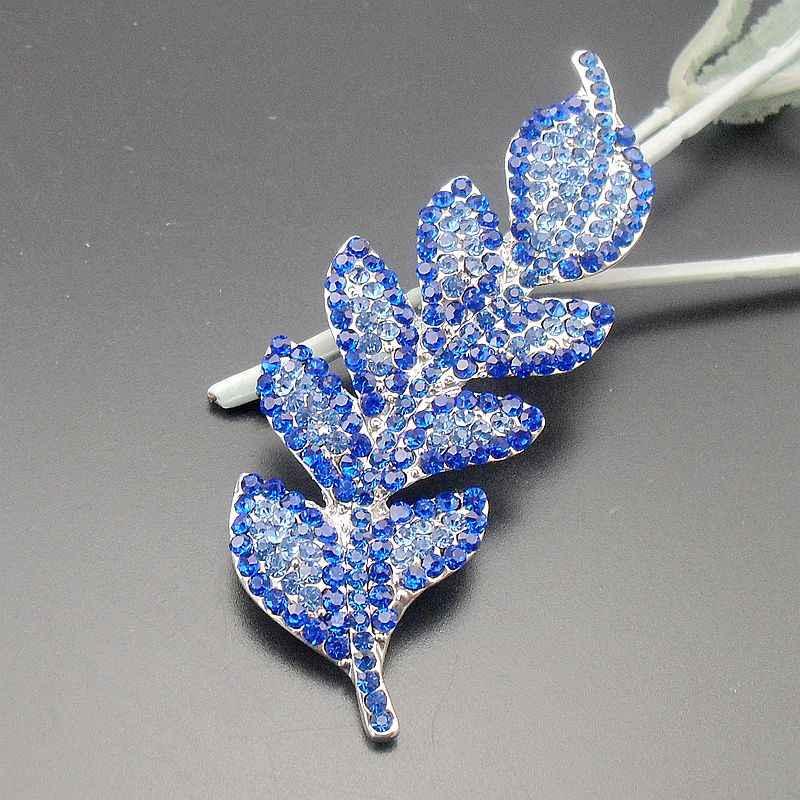 Tangtang葉ブローチファッションレディースブルーラインストーンアイスアウトリーフブローチ & ピンペンダントエレガントな植物ピン、商品番号: BH7534