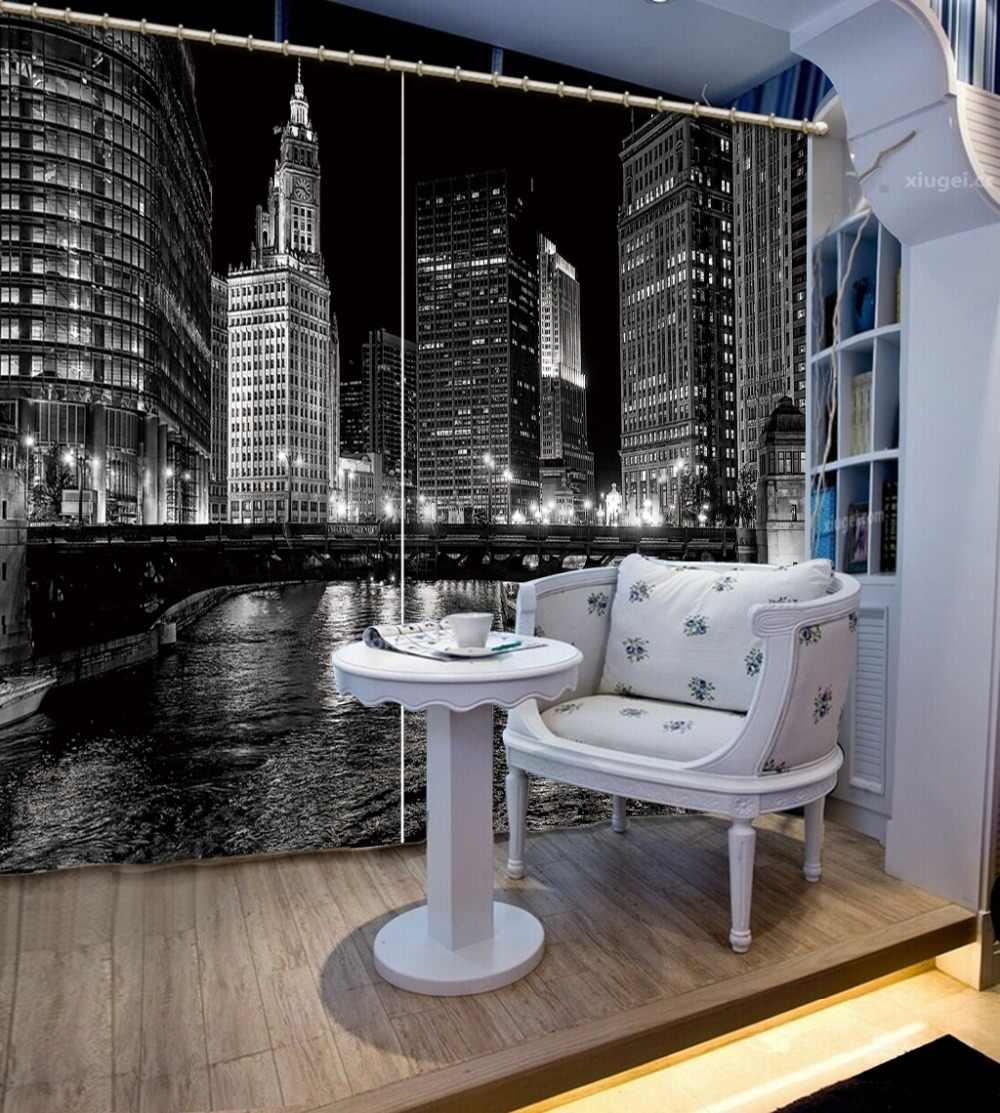Черный и белый 3D шторы город ночь vew плотные для спальня гостиная красивые украшения окна шторы