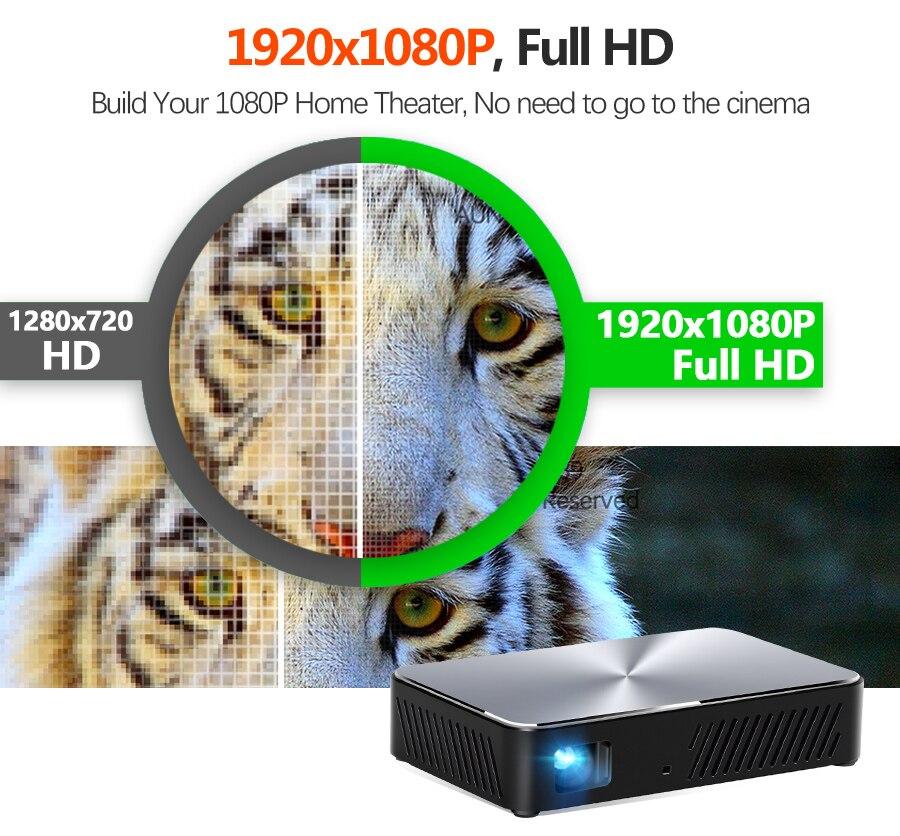 AUN Full HD Projektor J10, 1920x1080P, Gebaut in Android, WIFI, HD in. 6000mAH Batterie, Tragbare MINI Projector.1080P Heimkino