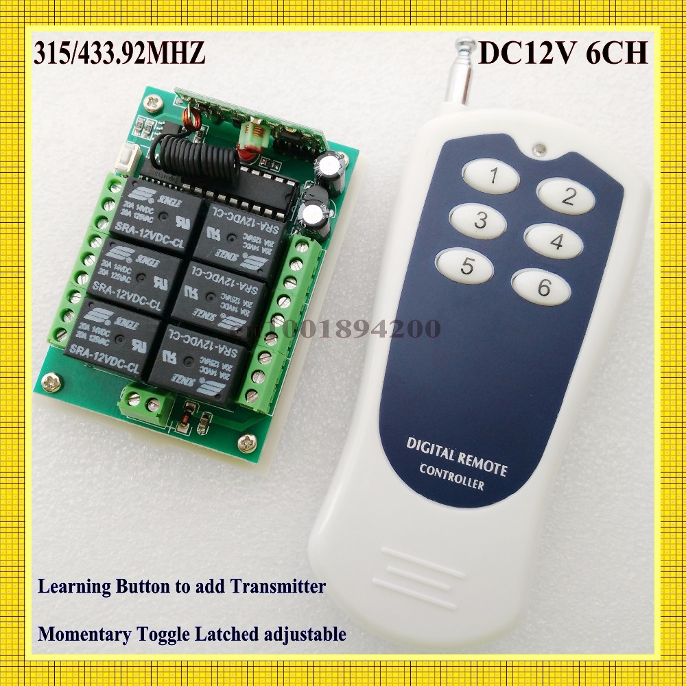 12V  6 CH Channel RF Wireless Remote Control Switch System Transmitter & Receiver for home Applicance or electrical machine dc24v 15ch rf wireless switch remote control system receiver