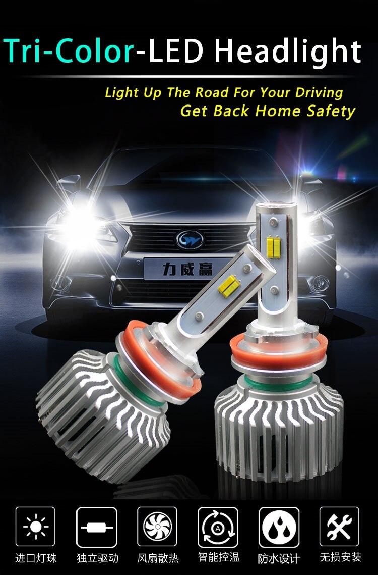 1 Set H8 H9 H11 Tri Color Led Headlight 60w 8000lm 3 Retrofit Circuit New Driver 3000k 4300k 6000k Change Amber Yellow White Csp Chips Bulb In Car Bulbs