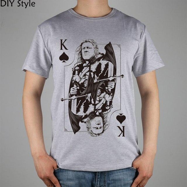 Eddard Stark WINTERFELL POKER K STARK GAME OF THRONES T-shirt top Lycra cotton Fashion Brand men t shirt high quality