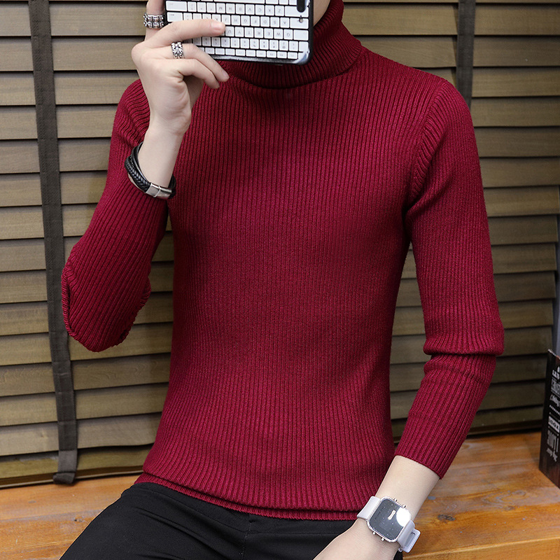 Men Slim Fit Thermal Cotton Polo Neck Turtleneck Sweater Top Chic Stretch Shirts