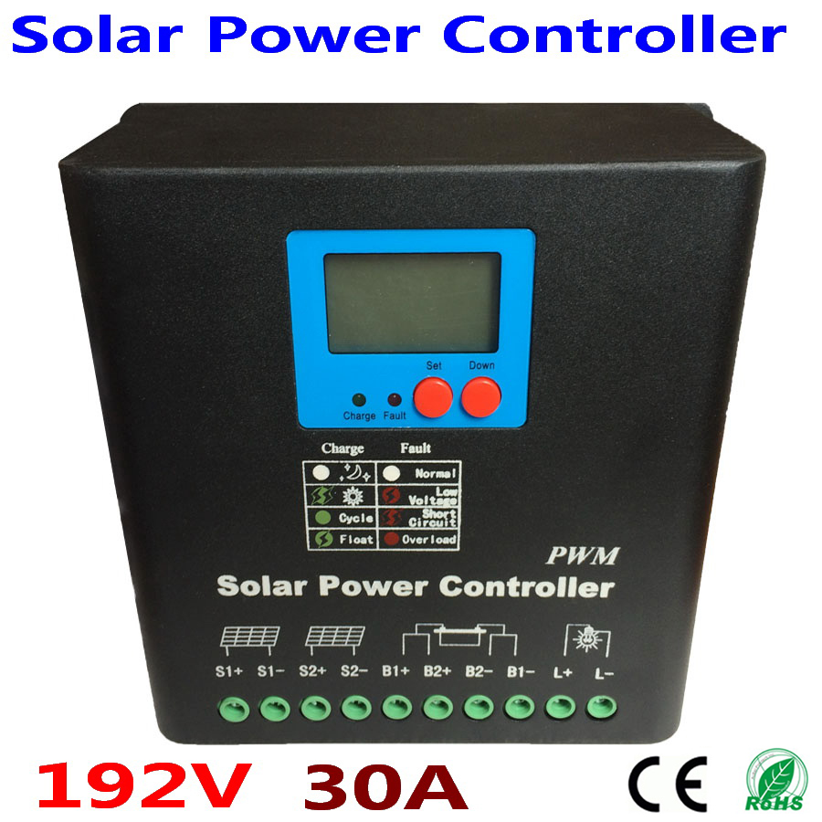 High Voltage 192V 30A Solar system Charge Controller,192V Battery Regulator 30A for 6000W PV Panels Modules, Dual-fan cooling image