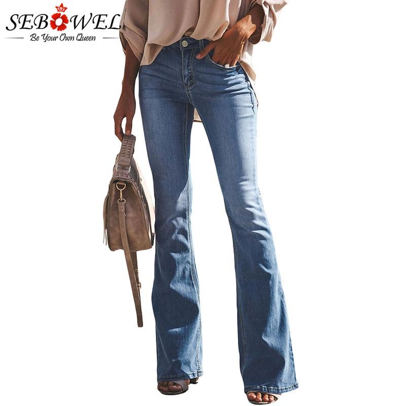 SEBOWEL Woman's Wash Vintage Wide Leg Jeans Spring Autumn Winter 2019 Long Flares Denim Jean Ladies Female Bell-bottomed Pants