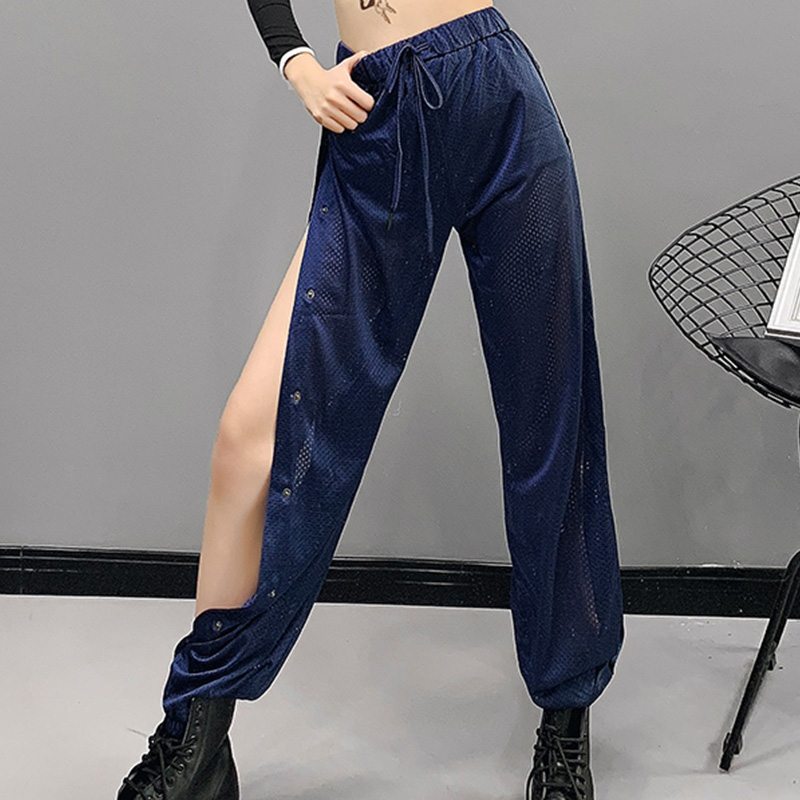 Jazz Costumes Sexy Split Pants Women Hip Hop Trousers Street Dance Clothes NightclubDj Singer Dancer Rave Stage Outfit DN3743