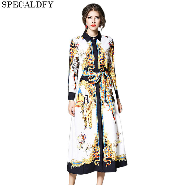 0f6cf2631f45 Runway Dresses 2018 Women High Quality Retro Vintage Print Party Dresses  Designer Casual Shirt Dress Vestidos Mujer Robe Femme