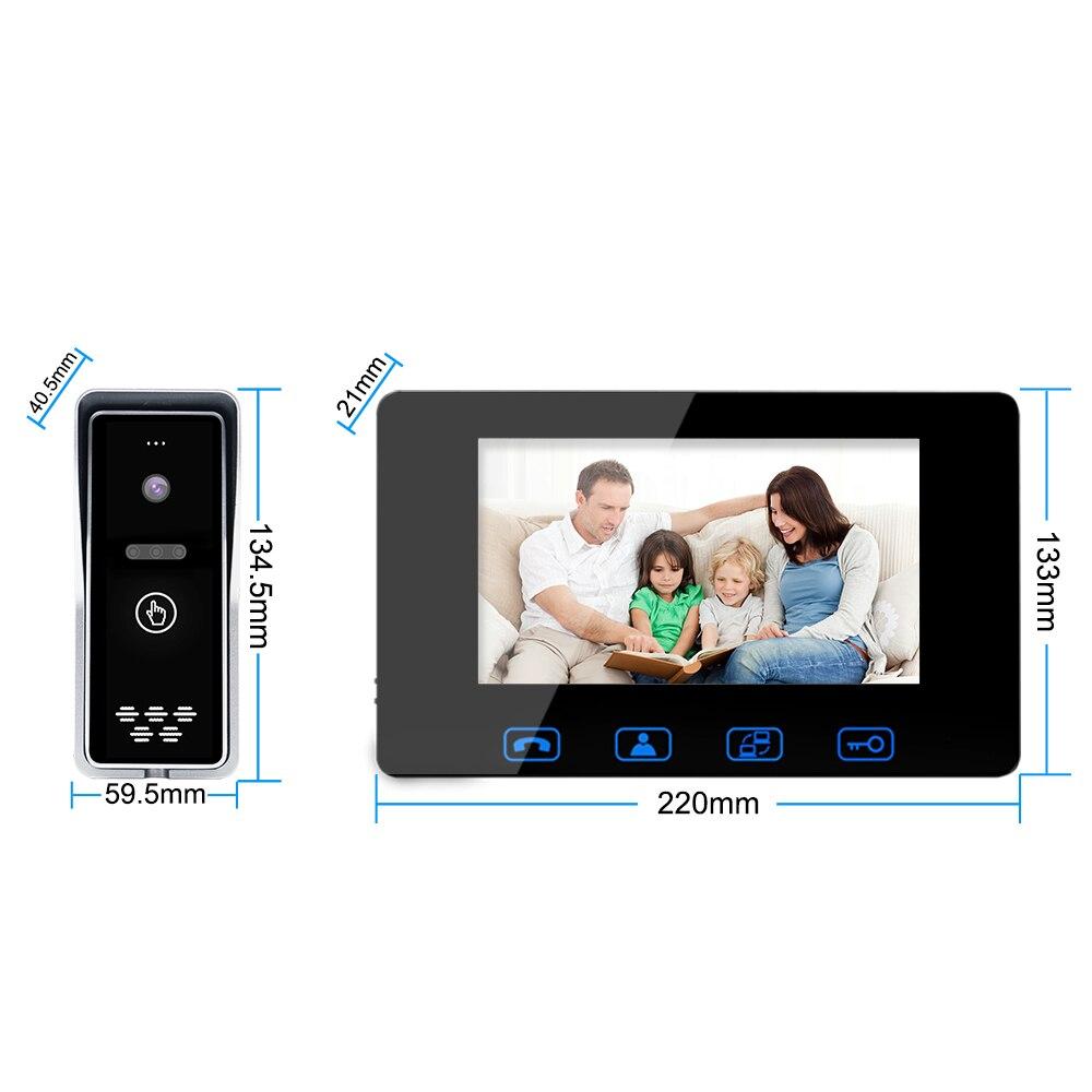 Cable de vídeo Puerta de teléfono 7 Color LCD resistente al agua con cámara con timbre digital visor de la visión nocturna IR sistema de intercomunicación - 5