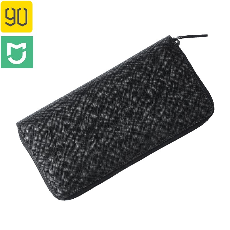 90FUN Concise Business Casual Long Wallet Safiano Genuine Leather For Man Xiaomi Original Eco-chain цена и фото
