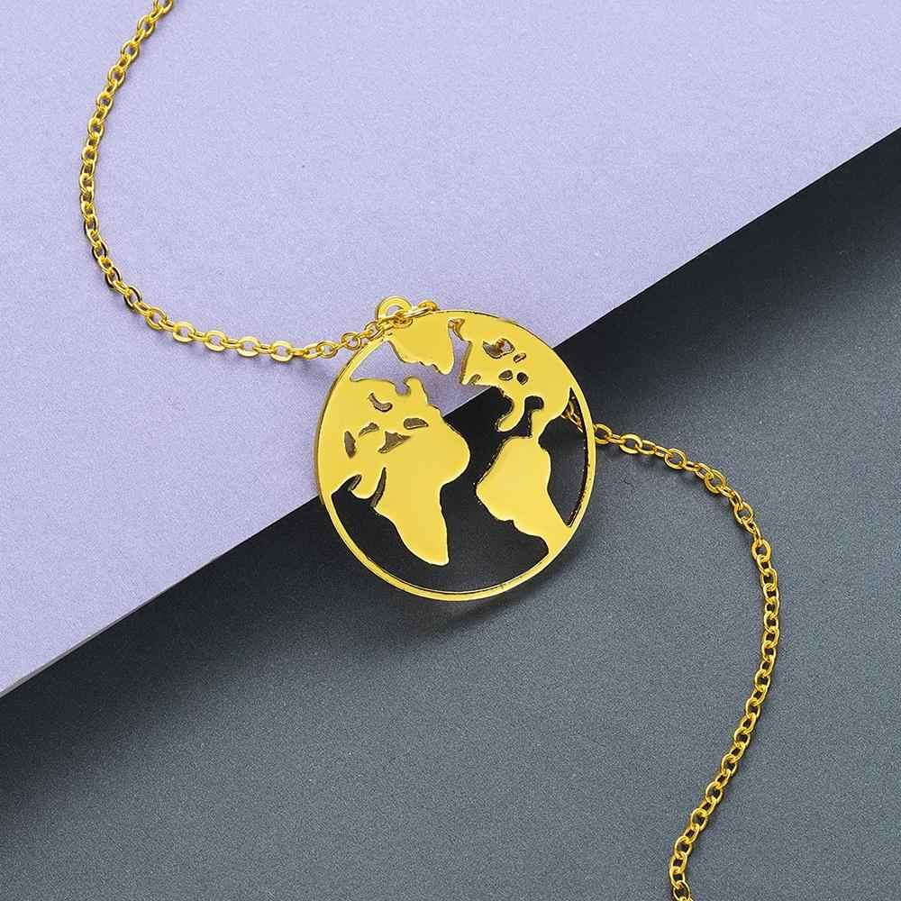Mapa świata globu naszyjnik kobiety moda przyjaźń ze stali nierdzewnej wisiorek naszyjnik komunikat biżuteria mężczyźni Collier