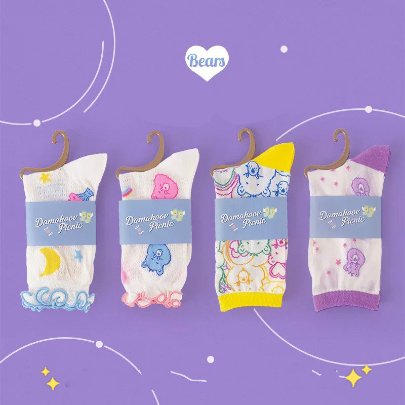 1 pair Cartoon Rainbow bear Spring Summer Silky thin socks for girls