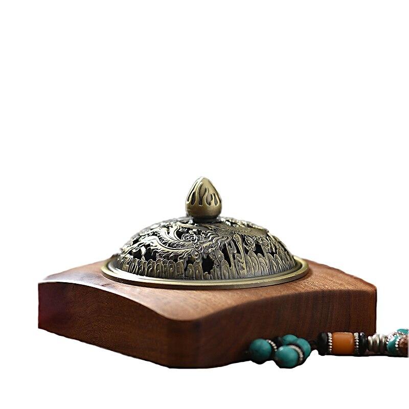 Buddha Incense Burner Creative Wooden Copper Coil Incense Burner Sandalwood Monolith Carving Coil Incense Plate A $
