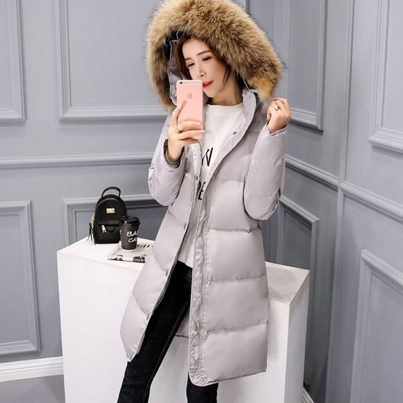 2019 Large Real Natural Raccoon Fur Hood Winter Jacket Women Parka 90% White Duck Down Jacket Thicken Warm Coat