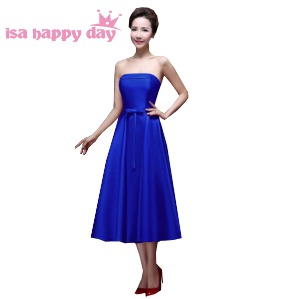 spring tea length satin royal blue formal strapless pretty   bridesmaid     dresses   in blue under $100 for wedding party H2905