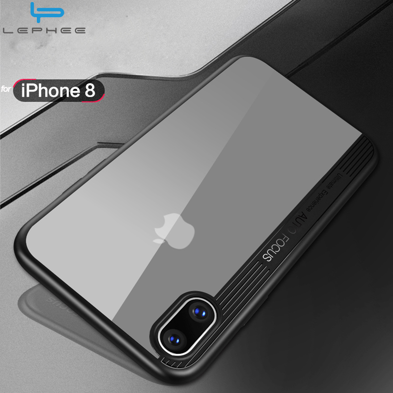 LEPHEE for iPhone X Case for iPhoneX Cover TPU Frame Protection Transparent Acrylic Back for iPhonX Phone Cases 5.8 inch