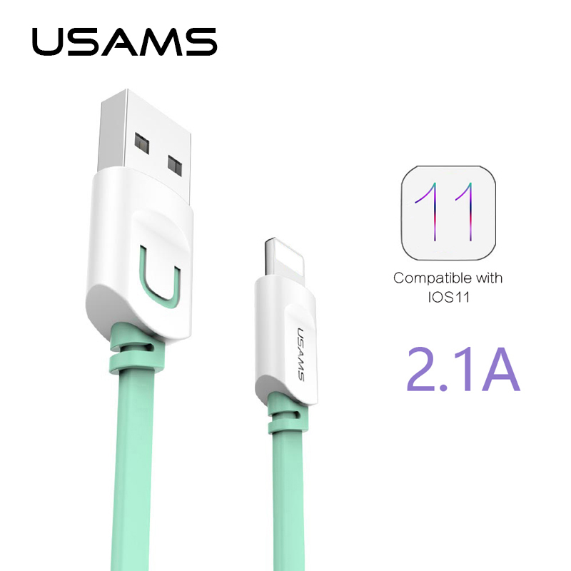 For IPhone Cable IOS 11 10 9 USAMS 2.1A Fast Charging 0.25m 1m 1.5m Flat Usb Charger Cable For iPhone 8 7 i6 iPhone 6 6s X Cable