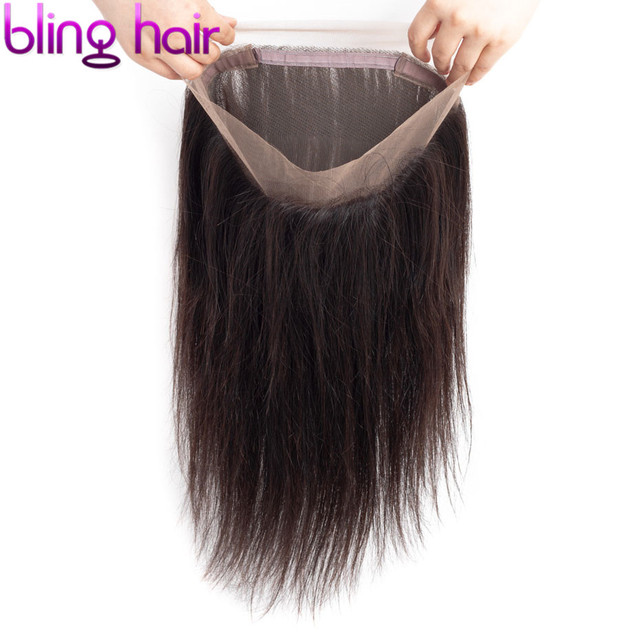 Bling Hair 360 Lace Frontal Closure Brazilian Hair 100% Remy Human Hair Straight Closure with Baby Hair Free Part Natural Color