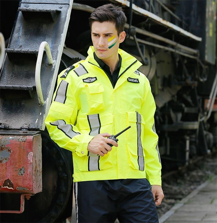 New High visibility Outdoor Jacket Polyester Waterproof safety reflective jacket rain coat rain jacket free shipping