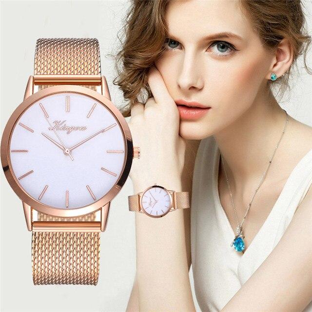 Fashion Golden Mesh Quartz Watch Women Metal Stainless Steel Dress Watches Relog