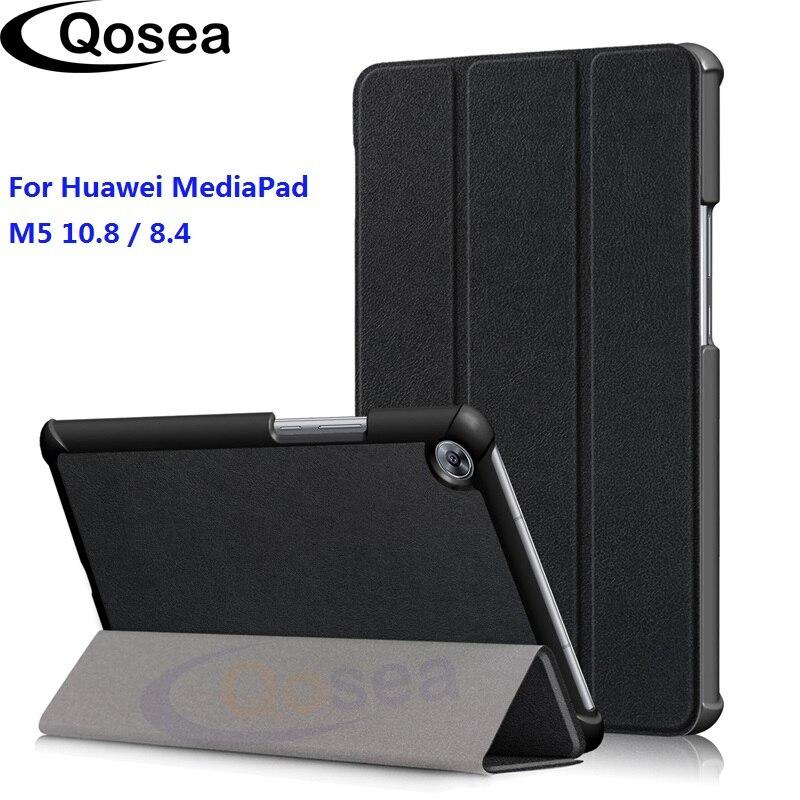 Qosea Pour Huawei MediaPad M5 10.8 PU En Cuir Smart Stand Cas Pour Huawei MediaPad M5 8.4 De Luxe Étui Flip Tablet couverture de Stand