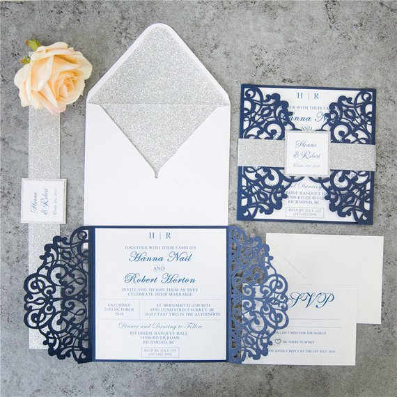 CA0688 Vintage Navy Blue Laser Cutting Wedding Invitations with Glitter Belly Bands