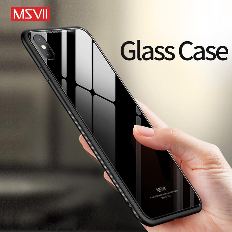 Msvii para iPhone X Caja De Cristal para el iphone X Coque de silicona A Prueba de Golpes Cubierta De Vidrio Templado de Lujo Delgado para iphonex volver