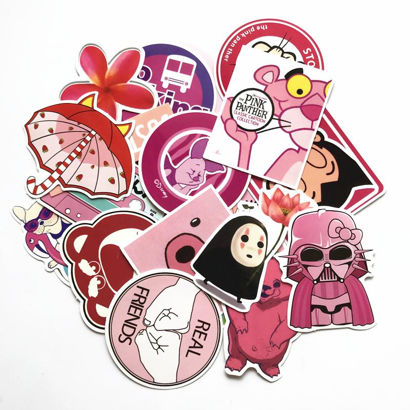 50 Piece/lot Girls' Style Pink Funny Cute Cartoon Stickers For Car Suitcase Laptop Pad Phone Waterproof Graffiti Decal Sticker