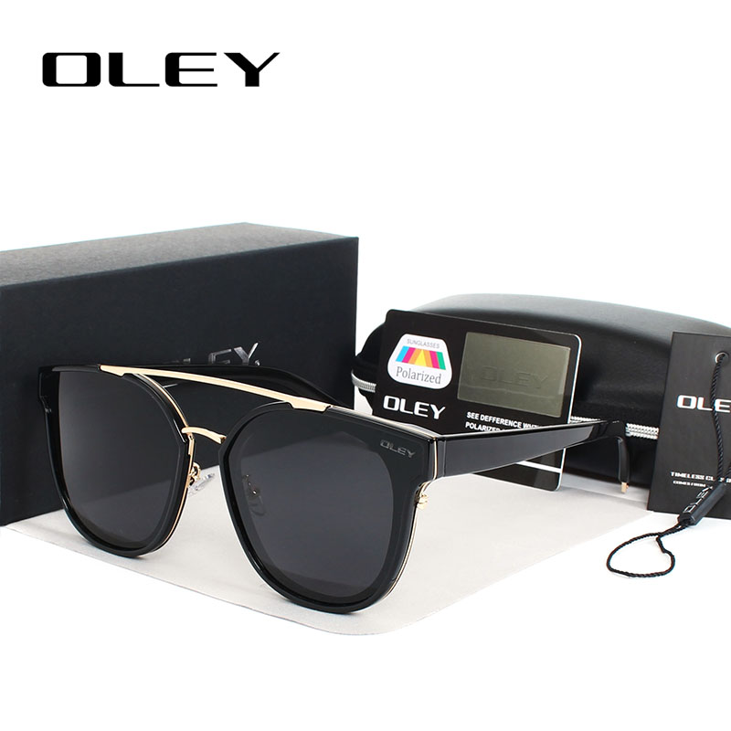 OLEY Luxury Oversized Sunglasses Wanita 2017 Merek Desainer Cermin Cat Eye Sun Glasses Lensa Panel Datar Bergaya UV400