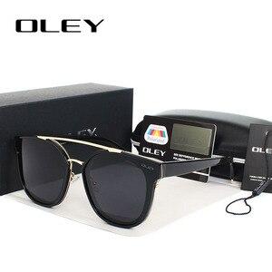 Женские солнцезащитные очки «кошачий глаз» OLEY, черные солнцезащитные очки большого размера с плоской панелью и зеркальными линзами, модель...