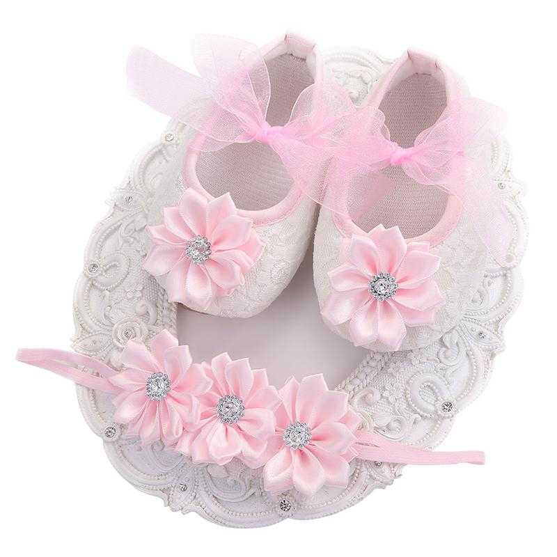 Christening Baptism Baby Girls Shoes Rhinestone Headbands Sets,Girl Props Baby Boots,Sapatos Infantis Soft Soled Shoes Baby Girl