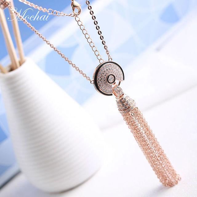 Известный Бренд Дизайн Сектора Длинной Кисточкой Ожерелье Для Женщин Роскошные Роуз Позолоченные Цирконий Шарм Цепь Свитера ZK30