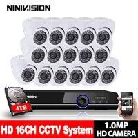 16CH CCTV Camera System AHD CCTV DVR 16PCS 1.0MP IR indoor Security Camera 2MP NVR 720P Camera Dome Home Surveillance Kits