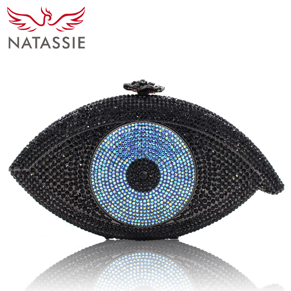 NATASSIE The Evil Eye Shape Women Luxury Clutch Bag Evening Bags Ladies Party Purse With Chain