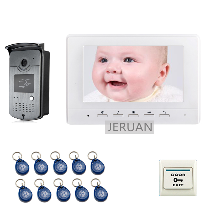 FREE SHIPPING 7 Screen Video Intercom Door Phone System + 1 White Monitor 1 Outdoor RFID Card Reader Doorbell Camera free shipping new 7 touch monitor video intercom door phone system waterproof rfid reader door camera electric strike slock